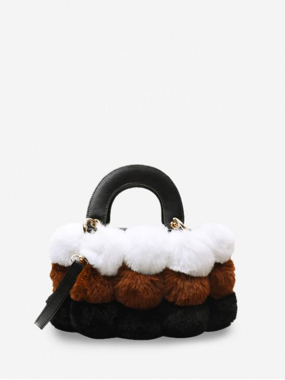 latest Crossbody Furry Balls Shoulder Bag - BROWN