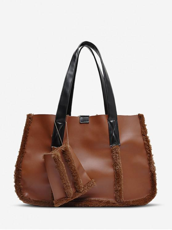 buy Furry Solid Simple Tote Bag - BROWN
