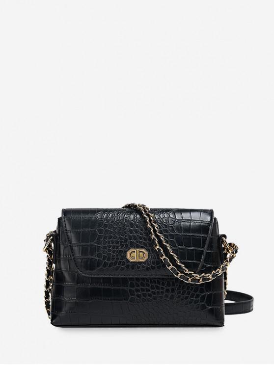 womens Dark Pattern Leather Embossed Chain Shoulder Bag - BLACK