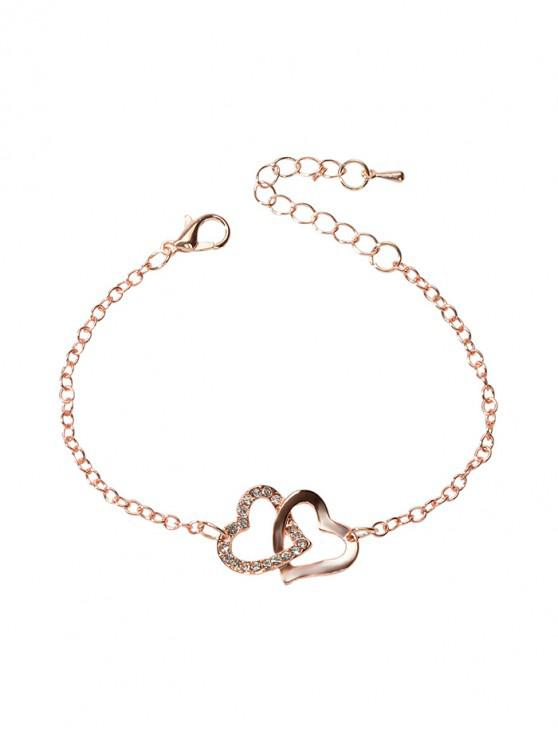 online Rhinstone Hearts Valentine Charm Bracelet - ROSE GOLD