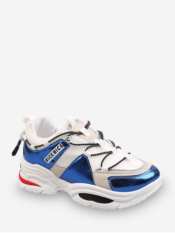 hot Nice Graphic Color-blocking Dad Sneakers - WHITE EU 41