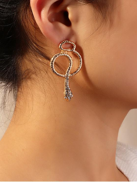 unique Rhinestone Snake Shape Earrings - GOLD