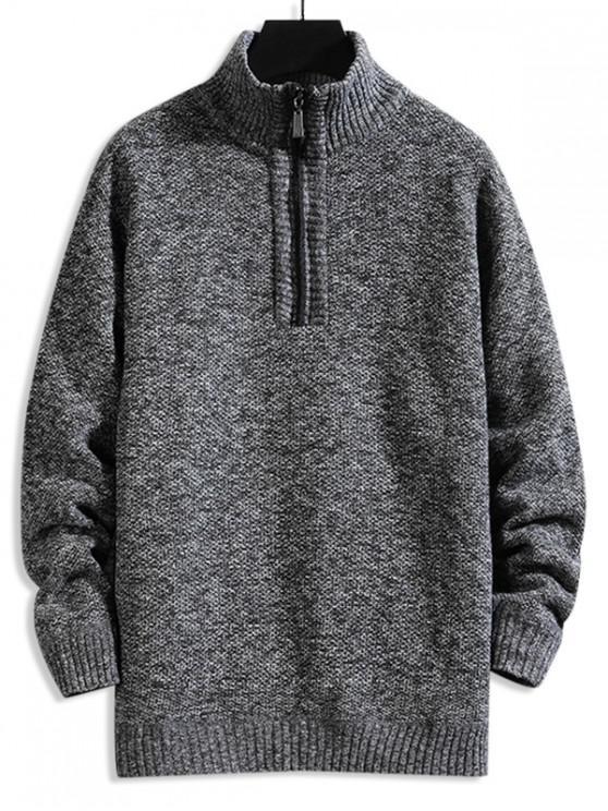 fashion Solid Color Quarter Zip Casual Sweater - GRAY L