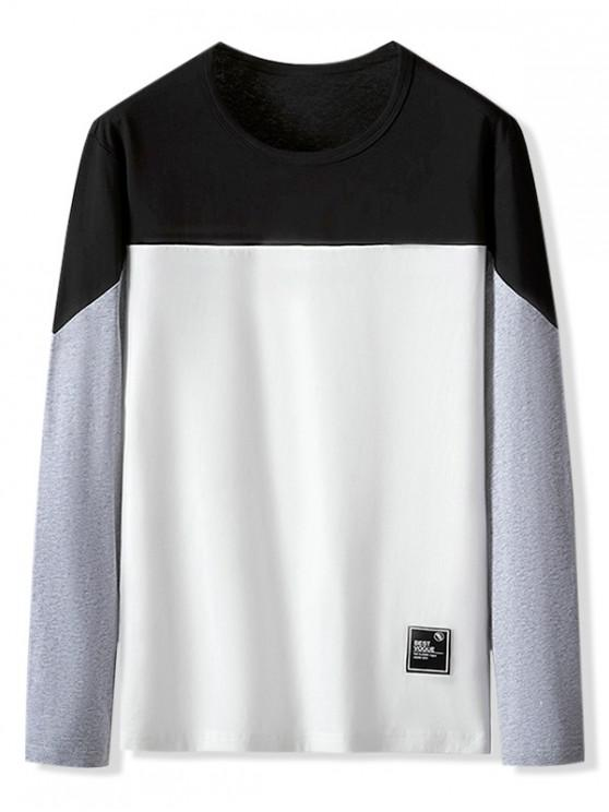 buy Color Blocking Letter Pattern Casual T-shirt - WHITE M