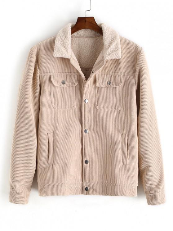 shops Solid Color Multi-pocket Decoration Fluffy Jacket - LIGHT KHAKI 2XL