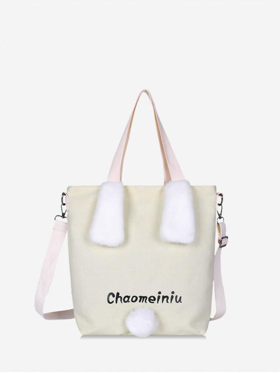 buy Rabbit Plush Ear Canvas Shoulder Bag - MILK WHITE