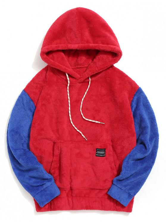 latest Color-blocking Pouch Pocket Fluffy Hoodie - RED 2XL