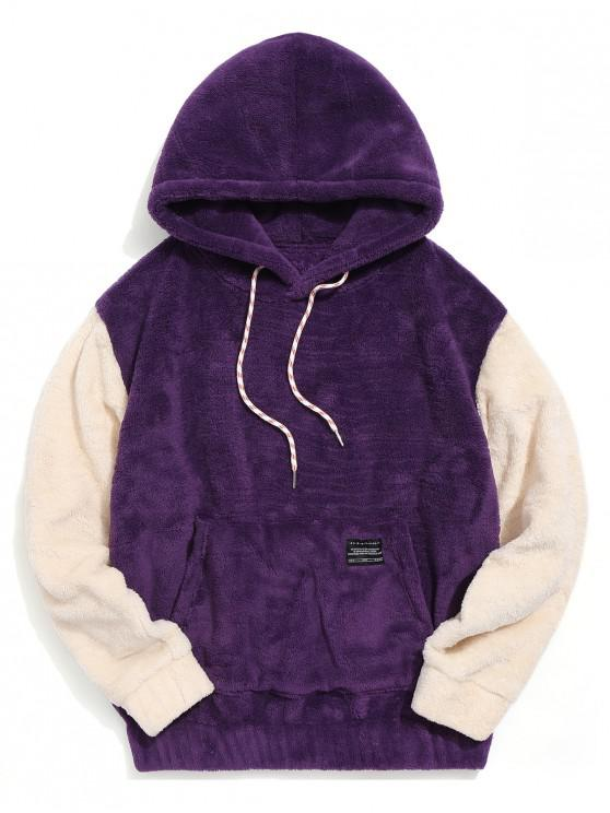 trendy Color-blocking Pouch Pocket Fluffy Hoodie - PURPLE S