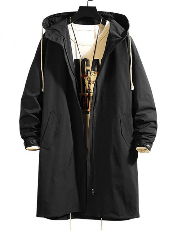 womens Solid Color Pocket Hooded Trench Coat - BLACK XL