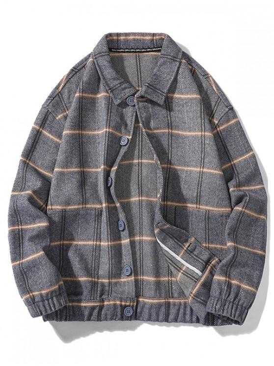 best Casual Plaid Pattern Button Up Jacket - GRAY L