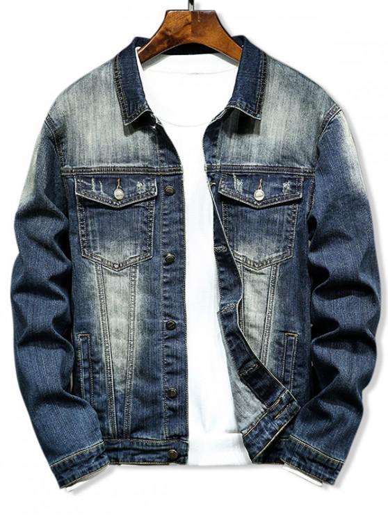hot Casual Double Pocket Button Denim Jacket - DENIM DARK BLUE L