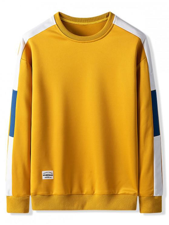 latest Contrast Color Spliced Casual Sweatshirt - BEE YELLOW M