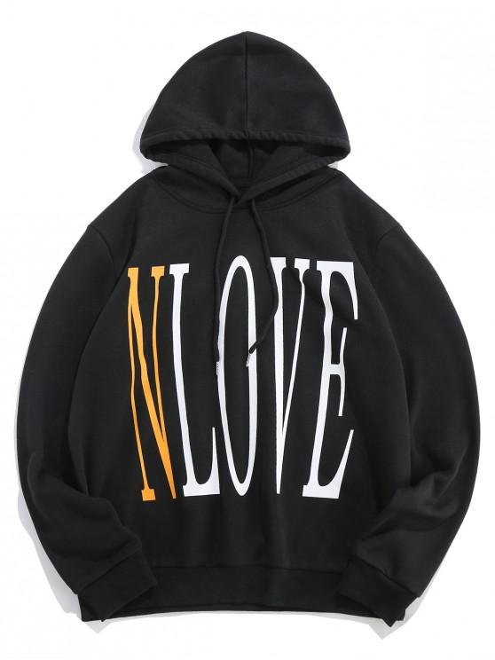 best ZAFUL Graphic Letter Print Leisure Hoodie - BLACK 2XL