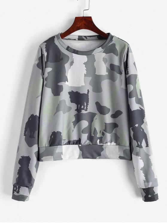 trendy ZAFUL Pullover Camouflage Sweatshirt - ACU CAMOUFLAGE S