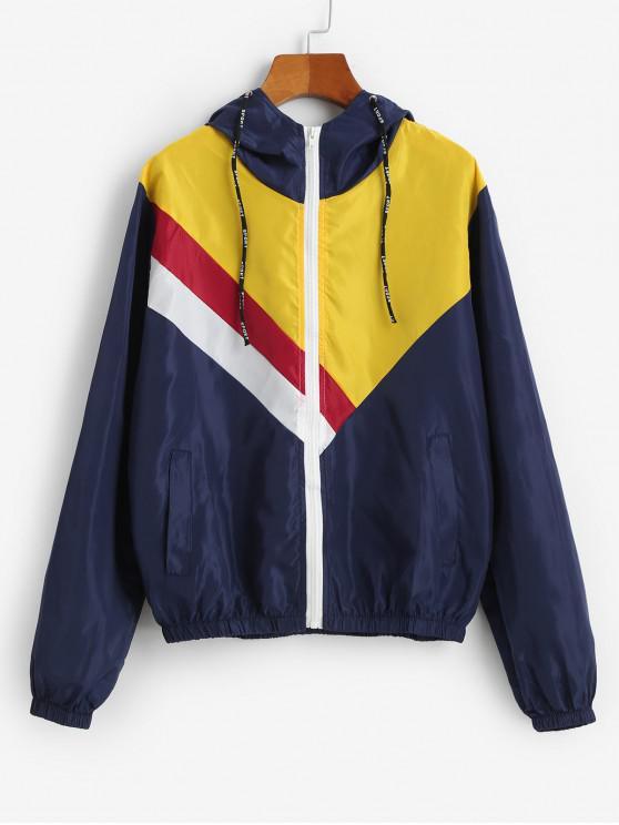 С капюшоном Цветной блок Карман Ветронепроницаемая Куртка - Многоцветный-A S