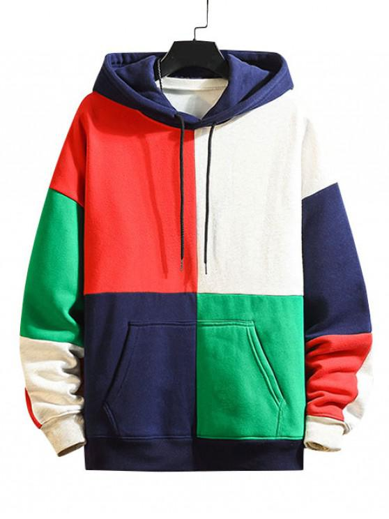 trendy Color Blocking Panel Fleece Hoodie - MULTI-A 4XL