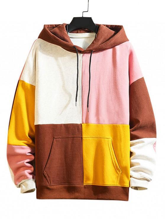 affordable Color Blocking Panel Fleece Hoodie - MULTI-B 4XL