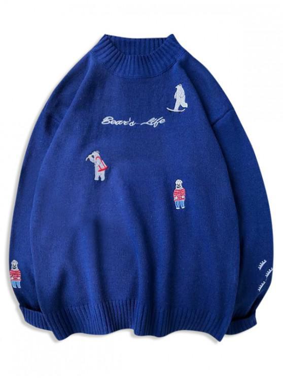 fancy Bear Letter Oriental Embroidery Graphic Sweater - BLUE XS