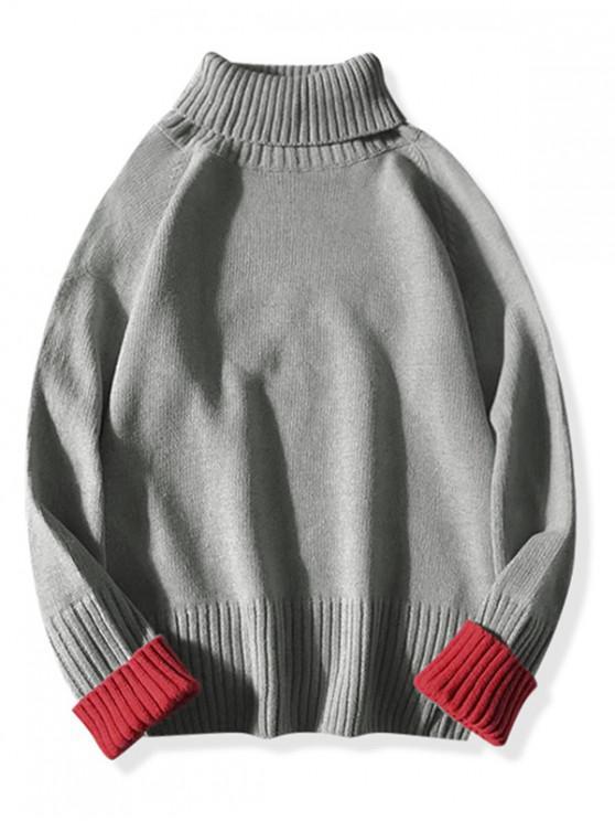 online Color Blocking Turtleneck Sweater - GRAY M