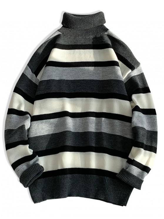 affordable Turtleneck Color-blocking Drop Shoulder Sweater - GRAY 2XL