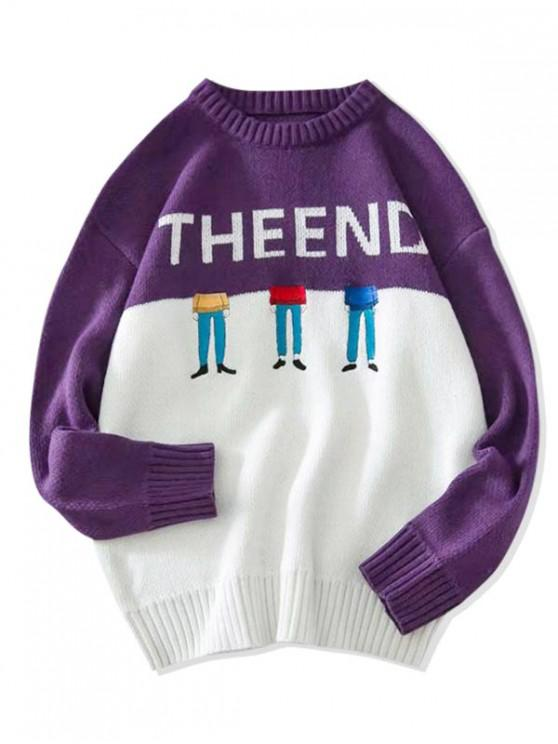 shops Two Tone Character Embroidery Letter Graphic Sweater - PURPLE 2XL