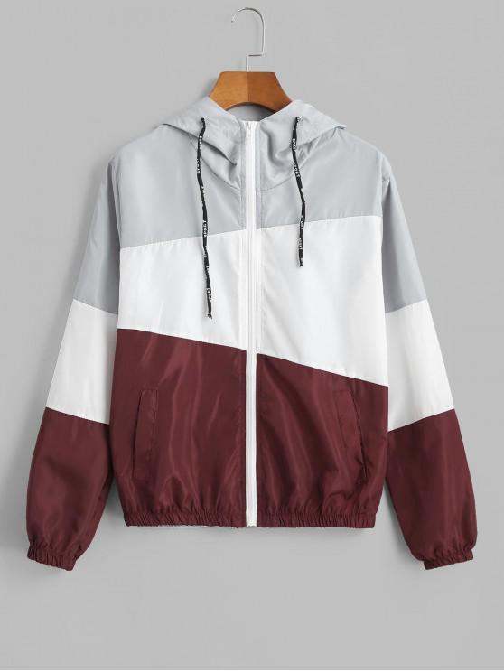 С капюшоном Цветной блок Со шнуровкой Молния Ветронепроницаемая Куртка - Многоцветный-A S