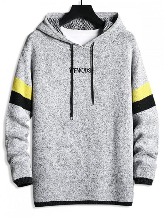 outfit Striped Heather Knit Drawstring Hoodie - GRAY M