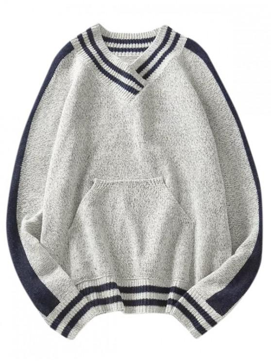 shop Pouch Pocket Striped Graphic Raglan Sleeve Sweater - GRAY M