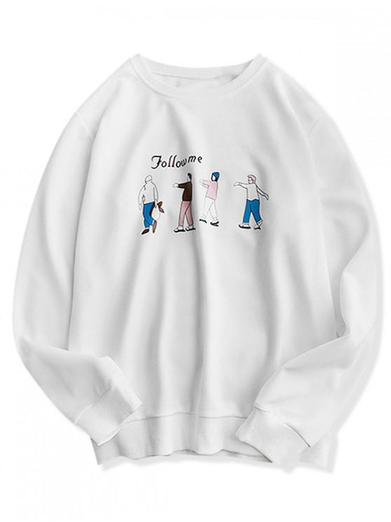 online Character Letter Printed Casual Sweatshirt - WHITE XL
