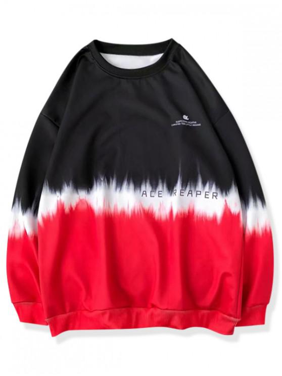 ladies Ombre Letter Print Sweatshirt - RED L