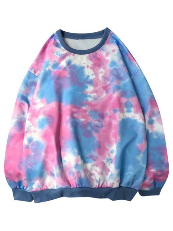 shops Tie Dye Print Pullover Casual Sweatshirt - PINK 2XL