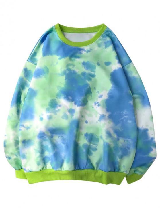 affordable Tie Dye Print Pullover Casual Sweatshirt - GREEN 2XL