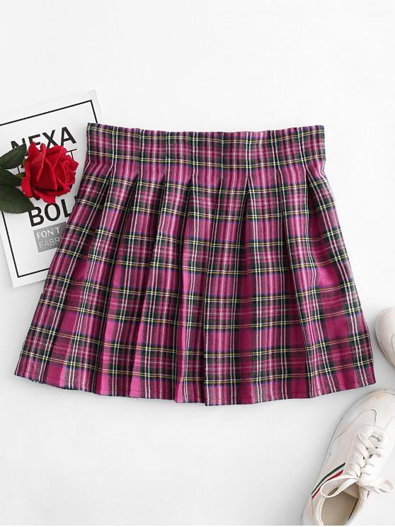 latest Plaid Pleated Mini Skirt - ROSE RED L