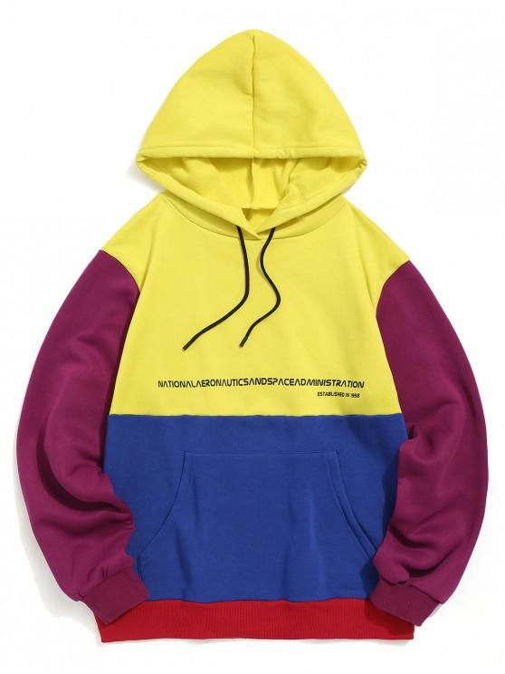 buy Graphic Pattern Color Spliced Pocket Hoodie - YELLOW XL