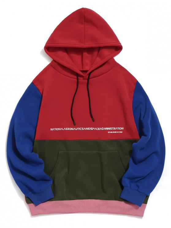 latest Graphic Pattern Color Spliced Pocket Hoodie - RED S