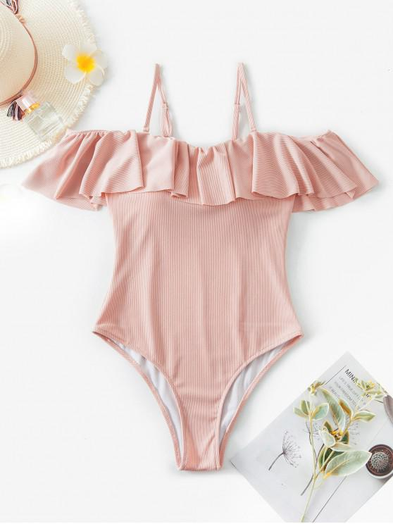 chic ZAFUL Ribbed Flounce Cold Shoulder One-piece Swimsuit - PINK XL