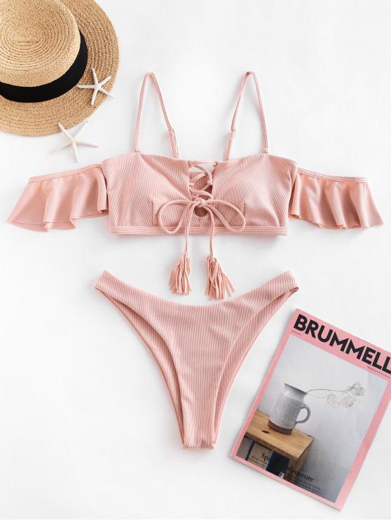 ZAFUL Bikini Badebekleidung mit Gerippter Schnürung und Hohem Schnitt - Rose M