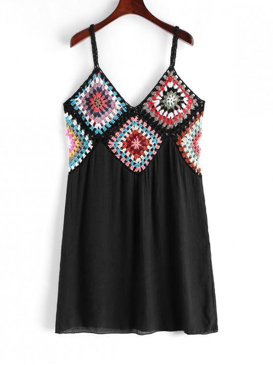 best Colorful Crochet Panel Beach Dress - BLACK ONE SIZE