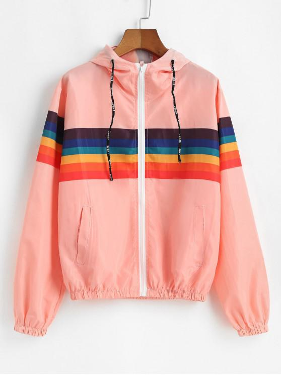fancy Rainbow Hooded Pocket Windbreaker Jacket - PINK S