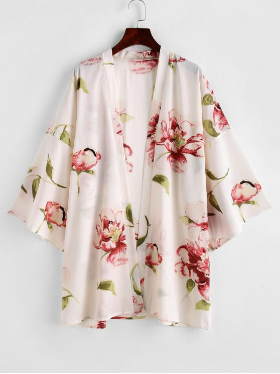 online ZAFUL Flower Drop Shoulder Collarless Kimono Cover Up - MULTI-A ONE SIZE