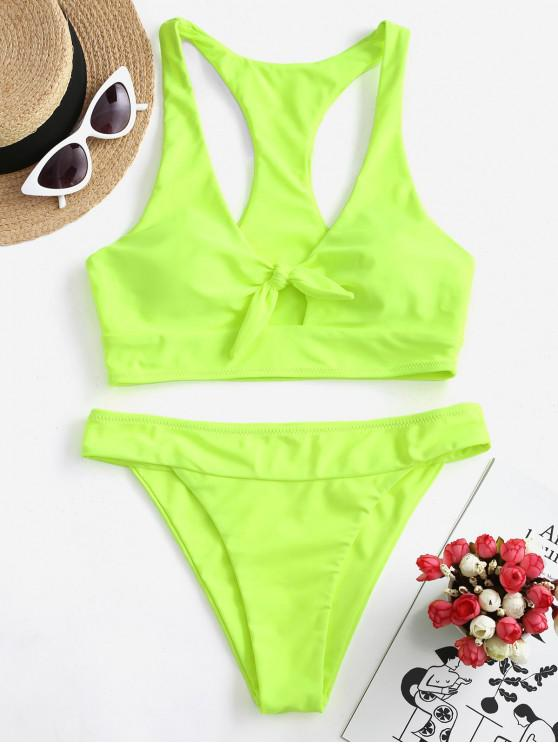 shops ZAFUL Knot Neon Racer Bikini Swimsuit - GREEN YELLOW L