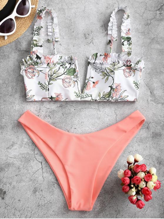 ZAFUL С оборкой Принт растения V-форма Бикини Купальник - Оранжевый розовый L