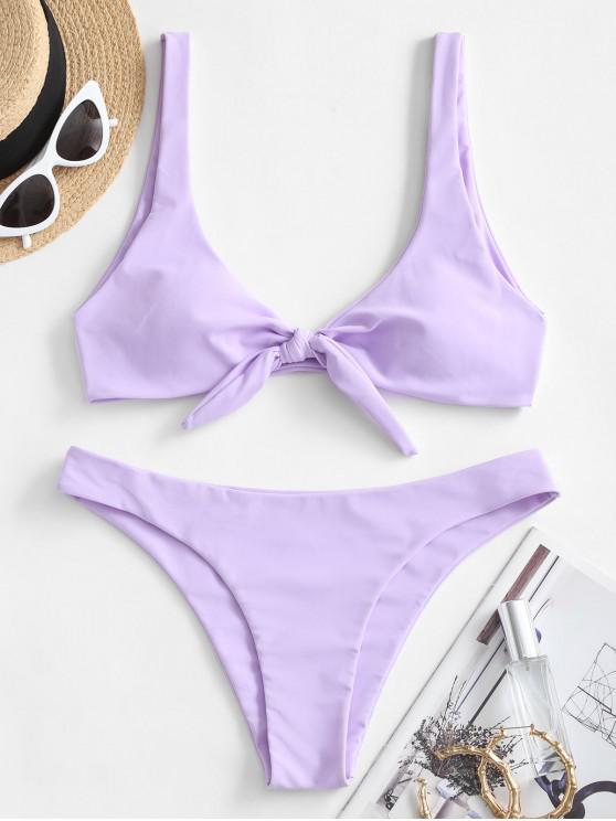 best ZAFUL Knotted Plunge Bikini Swimsuit - LAVENDER BLUE L