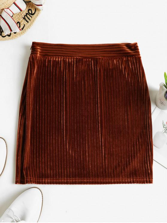 sale Ribbed Velvet Sheath Skirt - BROWN S