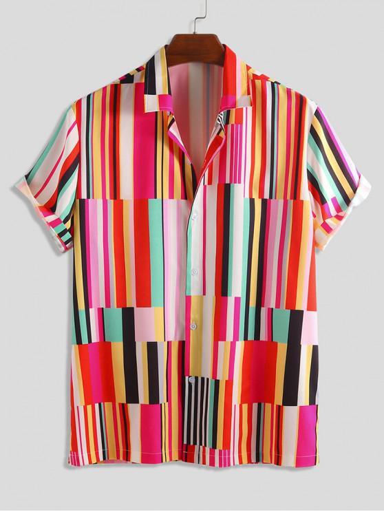 shops Striped Print Short Sleeve Button Shirt - MULTI M