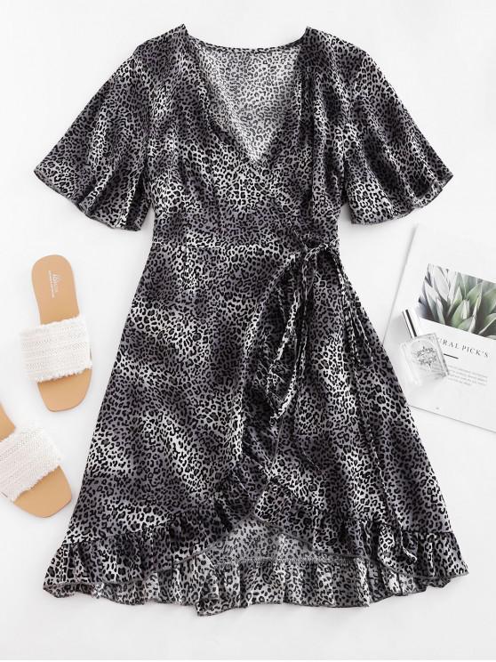 豹紋荷葉邊裹迷你連衣裙 - 灰色 XL