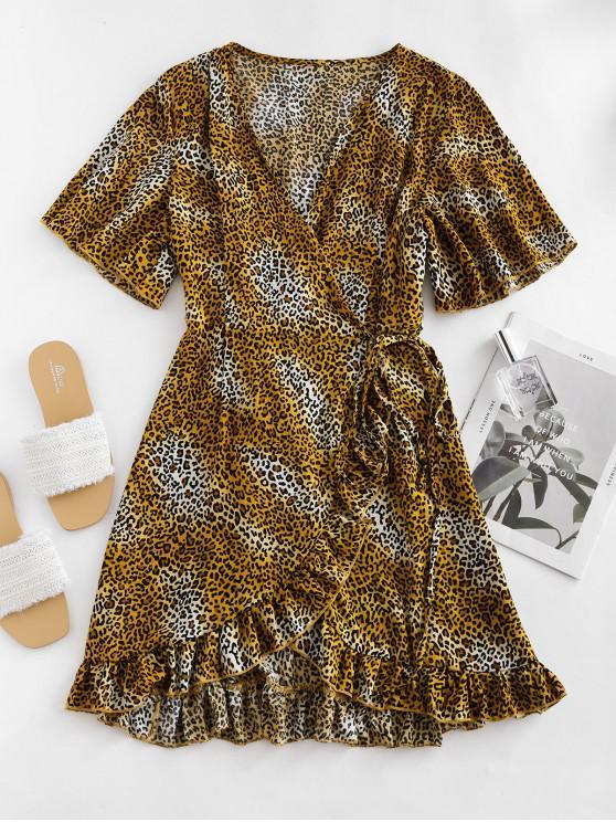 豹紋荷葉邊裹迷你連衣裙 - 黃色 M