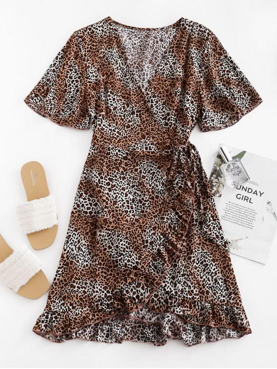 buy Leopard Ruffles Wrap Mini Dress - COFFEE S