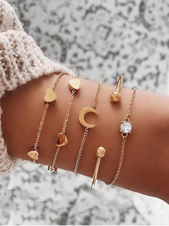 5 piezas de la cadena del corazón Luna pulseras Set - Oro