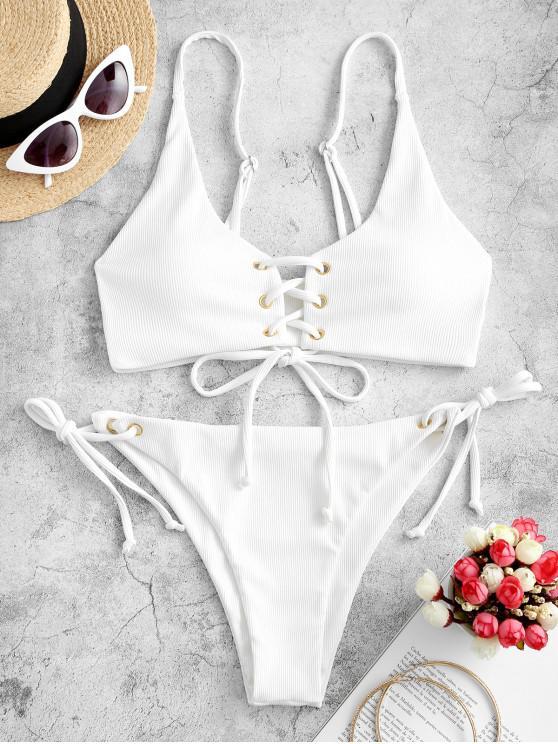 ZAFUL Lace-up laccetti sui fianchi a coste Bikini Swimsuit - Bianco L